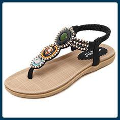 82bd871170d7 Easemax Women s Fashion Bohemia Beaded Beach Flip Flops Flat Slip-resistant  Elastic Sandals Black 4 B (M) US