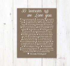 50th Birthday Present Reasons We Love You 30th 40th 60th 70th 80th 90th Custom Gift