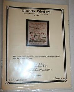 ELISABETH PRITCHARD C 1843 SAMPLER REPRODUCTION CHART PATTERN R&R REPRODUCTIONS