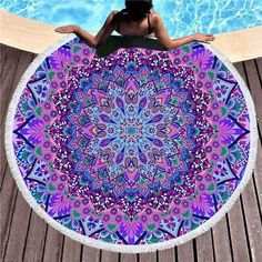 """BACK IN NEW LILLY INSPIRED 59/"""" ROUND BEACH TOWEL ROSE SUMMER POOL RARE"""