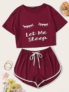 Shop Graphic Print Top & Drawstring Waist Dolphin Shorts PJ Set at ROMWE, discover more fashion styles online. Girls Fashion Clothes, Teen Fashion Outfits, Outfits For Teens, Teenage Outfits, Preteen Fashion, Teen Clothing, Style Clothes, Cute Lazy Outfits, Pretty Outfits