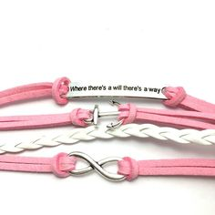 Pink white anchor infinity bracelet Pink and white anchor infinity where there's a will there's a way bracelet adjustable 7 inches to 8 inches Jewelry Bracelets