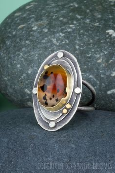 Ring | Sarah Breivis.  Montana Agate, Sterling silver with 18K and 22K gold