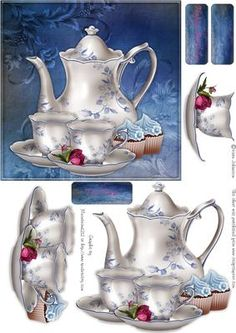 "Blue Tea time  on Craftsuprint designed by Karin Johansson - This is a 6x6"" card that is suitable for any occasions.  - Now available for download!"