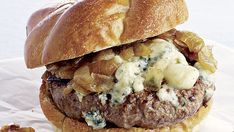 Beef Burgers with Blue Cheese and Caramelized Onions - Recipe - FineCooking