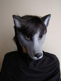 Animal mask paper mache mask Wolf mask Wolf by EpicFantasy