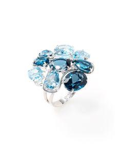 Blue Topaz & London Blue Topaz Multi-Shape Floral Ring by Vianna Brasil at Gilt Gemstone Engagement Rings, Natural Sapphire, London Blue Topaz, Cocktail Rings, Colored Diamonds, Beautiful Rings, White Gold, Bling, Gemstones