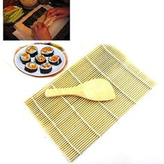 Saingace 2PC Sushi Tools Rolling Maker Bamboo Material Roller DIY Mat and A Rice Paddle >>> Check out the image by visiting the link. (This is an affiliate link) #ToolGadgetSets