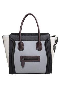 Emma Medium Smooth Leather Bag Black/Grey/White