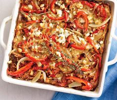 Bell Pepper & Goat Cheese Strata: #Brunch sans egss isn't brunch! Stick this strata in the oven as guests arrive.