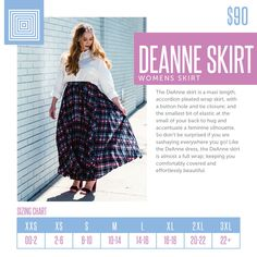 Sizing chart for the Lularoe Deanne skirt. This full-wrap, accordion pleat, maxi-length skirt is GORGEOUS and my favorite wardrobe piece right now! Lularoe Size Chart, Lularoe Shopping, Buttery Soft Leggings, Flattering Dresses, Lula Roe Outfits, Long Tops, Fashion Boutique, Fashion Forward, What To Wear