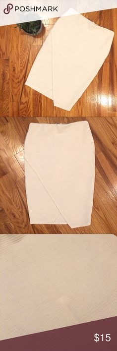"✨NEW✨ Wrap Midi Pencil Skirt Surplice Wrap Front Rib Knit Midi Pencil Skirt |  Half lined and banded waistline |  Perfect for the office or date night! |  Gently used, some small markings on front (see pics) |  One lightened from cleaning, hardly noticable |  Approx measurements = 15""W/18""H/25.5""L (runs large) 