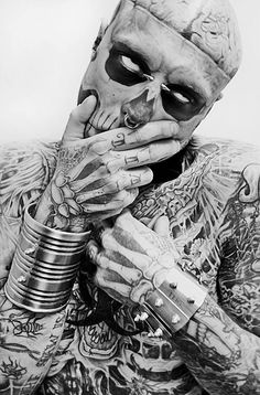 Rick Genest / Male Models, Tattooed guy, Black & White Photography