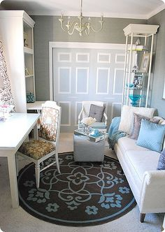 White and Blue Office with Gray Walls, great rug.  Could work in current living room.