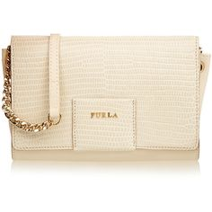 Furla Zizi Cream Croc-Embossed Clutch ($155) ❤ liked on Polyvore featuring bags, handbags, clutches, cream, real leather handbags, crocodile leather handbags, leather clutches, genuine leather handbags and leather purse