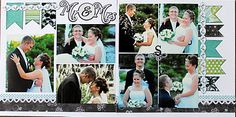 Mr. and Mrs. double page scrapbook layout...love the banners.
