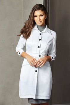 Lab Coats For Men, School Uniform Outfits, Nurse Costume, Medical Uniforms, Prada, Scrubs, Tweed, Chef Jackets, Ideias Fashion
