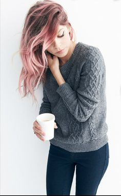 Pink/Grey Highlights. I just really love basic cable sweaters.