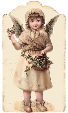 Christmas angel with basket of holly - Tag.