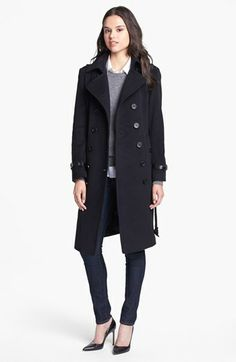 Knee-length, black, belted peacoat in wool and cashmere blend, for when my ankle length puffer is too much.