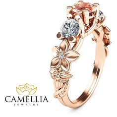 Three stone ring 14K Rose Gold Morganite Ring,Camellia Jewelry,Flower... ($930) ❤ liked on Polyvore featuring jewelry, rings, art deco engagement rings, engagement rings, deco ring, pink gold engagement rings and flower ring