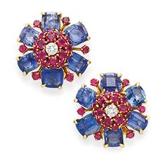 A Pair of Retro Multi-gem and Diamond Flower Ear Clips, by Van Cleef & Arpels Gold Jhumka Earrings, Stud Earrings, Van Cleef And Arpels Jewelry, Diamond Earing, Jewellery Sketches, Cushion Cut Diamonds, Diamond Flower, Vintage Costume Jewelry, Necklace Designs