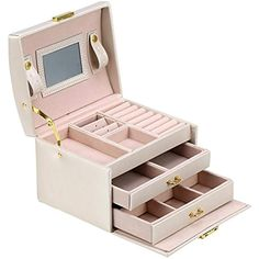 3 Layer Jewelry Storage Box PU Leather Jewelry Display Storage Case Holder for Earring Necklace Rings Watch Vintage Gift for Women InchWhite Care Health Shoes-Jewelry Jewelry-Watch Accessories Accessories Boxes-Organizers Boxes Jewellery Storage, Jewellery Display, Jewelry Case, Jewelry Box, Ring Watch, Necklace Display, Organiser Box, Layered Jewelry, Layers Design