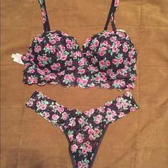 PINK VICTORIA SECRETS BRALETT & MATCHING THONG PINK bralett and matching thong in a beautiful rose pattern... New with tags fits a range of sizes...36 C & D through 38 A thru C Victoria's Secret Intimates & Sleepwear Bras