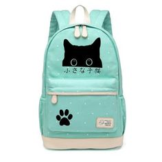 0dd8dc3d82 WISHOT Pusheen Cat Canvas bag unicorn Flower wave point Rucksacks backpack  for teenagers Girls women School travel Shoulder Bag