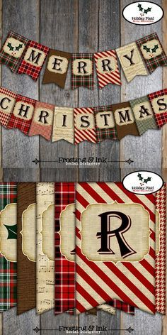 "This printable banner will read ""Merry Christmas"" and include two end flags to use on the ends or in between the words. #christmas #banner #printable #ad"