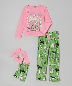 Take a look at this Mint Doggie Pajama Set & Doll Outfit - Girls by Dollie & Me on #zulily today!