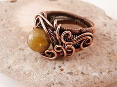 Wire Wrap Ring Size 7 Green Garnet Stone Bead by PerfectlyTwisted