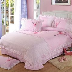 FADFAY Home Textil, Zartes Rosa Blumenmuster, Vintage-Stil, Bett, Sweet Ballerina, Design Fee Bettwäsche Korean Kinder Bettdeckenbezug, baumwolle, Einzelbett