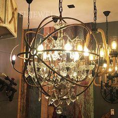 <b>【在庫有!】</b>インダストリアル・スタイル照明 クリスタルシャンデリア 6灯(Φ600×H600mm)の画像