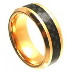 8mm Cobalt Men Women Wedding Band Ring Gold Plated w/ Black Carbon Fiber Inlay