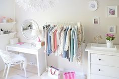 Cute...Have a rolling rack with the weeks clothes out.
