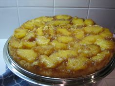 Pineapple Upside down cake! Step #3: Bake in oven. When done, flip upside down, so that fruit layer is on top!