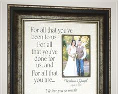 Celebrating the Special Moments in Your by PhotoFrameOriginals Thank You Gift For Parents, Wedding Gifts For Parents, Mother Of The Groom Gifts, Wedding Thank You Gifts, Mother In Law Gifts, Wedding Gifts For Groom, Unique Wedding Gifts, Personalized Wedding Gifts, Bride Gifts