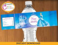 INSTANT DOWNLOAD - Cinderella Water Bottle Labels - Cinderella Labels - Disney Princess - Birthday - Party Decorations - Printable -Digital  ***** THIS ITEM IS AN INSTANT DOWNLOAD *****  Disney Princess Cinderella PRINTABLE Water Bottle Labels in the form of SECURE PDF file.  Size - Approximately 8.5 inch * 2 inch  4 Water Bottle Labels on a single A4 sheet of Paper.  Just PRINT, CUT & ATTACH.  *************************************************************************  If you would like it...