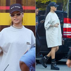 Rihanna Vetements Unidad Hombres grey tee, Bathory hat, Fenty x Puma black wedge sneaker boots, Louis Vuitton twisted box handbag