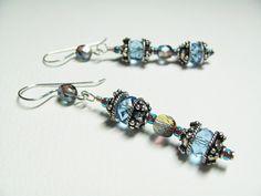 Sterling Silver Earrings Blue Crystal Bali Bead by BohemianIce #jewelry #handmade #etsy