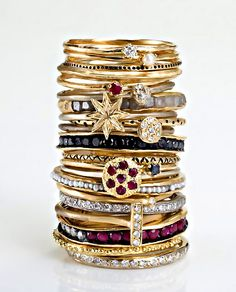 Also looking for dainty stackable sliver rings. Animals, letters, symbols, some bling, a few that are CZ's all the way around.