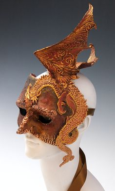 Dragon half mask by TheArtOfTheMask on Etsy, $295.00