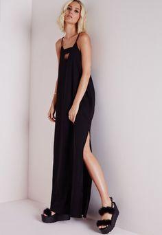 Robe longue noire en crêpe à découpe - Robes - Robes longues - Missguided