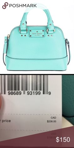 Kate Spade mini Wellesley fresh air bag Stunning bag brand new! Cross body and hand bag.. this bag is more of a turquoise color than what the photo shows blueish green color kate spade Bags Mini Bags
