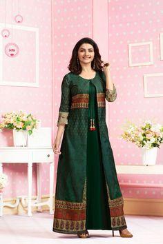 Long kurtis, online long kurtis shopping in banglore - sareeswholesale Designer Evening Gowns, Designer Dresses, Designer Kurtis, Abaya Fashion, Fashion Dresses, Women's Fashion, Kurti Designs Party Wear, Dress Designs, Blouse Designs