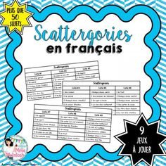 Fun game – Scattergories … - Learn and teach you French Teaching Resources, Teaching French, Teaching Ideas, Vocabulary Activities, Writing Activities, Core French, Ap French, French Stuff, French Education