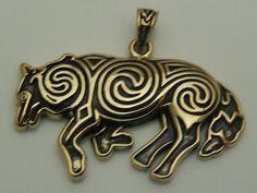 Celtic WOLF Pendant Gold Tone Bronze Celtic Spirals Magick Wolf energy amulet
