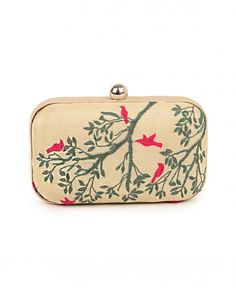 Vanilla Cream Clutch with Pink Bird Motifs