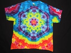A2XL24 Psychedelic Star Front  Peace Sign on by PsychedelicTieDyes, $65.00